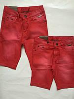 Детские джинсовые капри для девочек, корал, 92-116