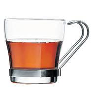 Набор чашек стеклянных с металлической ручкой (2 шт/210 мл) Pasabahce Basiс 42665