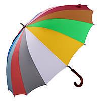 Женский зонт трость Три Слона 16 спиц Радуга ( автомат ) арт.2450