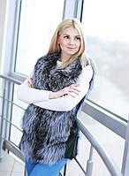 """Меховой жилет """"Лайза"""" из чернобурки с кожаными вставками по бокам, длина 70 см"""