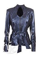 Синяя кожаная куртка женская (размер L)