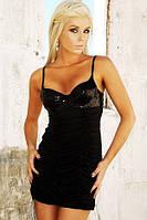 Женское черное гофро платье с пайетками на груди B3217