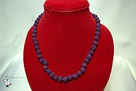 Бусы из лавового камня (фиолетовый) 8 мм.