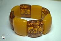 Браслет из прессованного янтаря (квадратный)