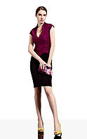 Оригинал. Ликвидация стока. Черное платье Karen Millen с гипюровым верхом цвета бургунди KM70124
