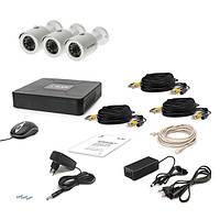 Комплект AHD видеонаблюдения на 3 уличные камеры Tecsar 3OUT, 1 Мп