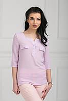 Элегантная молодежная блуза из креп-шифона прямого силуэта