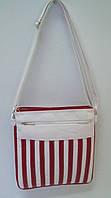 Женская сумка, белая с красным.