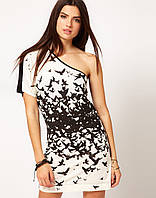 Ликвидация стока. Черно - белое платье Klimeda на одно плечо с принтом птицы KM70141