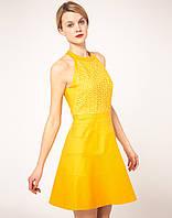 Оригинал. Полная распродажа. Желтое платье Klimeda с аппликацией на груди KM70107
