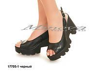 Женские кожаные молодежные черные босоножки на каблуке 10см (размеры 36-41)