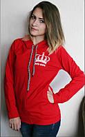 Молодёжный красный батник с принтом, длинный рукав. Арт-5406/55