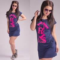 Модное летнее платье темно синее с надписью. Арт-5407/55