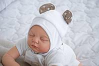 """Шапочка для новорожденного """"Мишка"""" белая"""