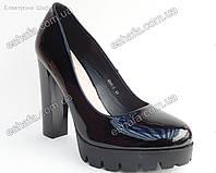 Женски туфли  лодочки широкий каблук 12см платформа 2,5см. Черные