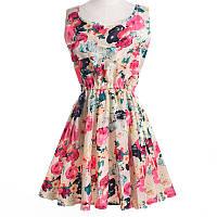 Платье женское с цветочным принтом летнее бежевое