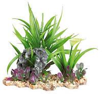 Зеленое растение для аквариума Trixie (Трикси) на каменной подложке, 18 см