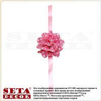 Браслет Розовый Цветок в горошек на руку (запястье), на: выпускной, свадьбу, девичник, на ленте