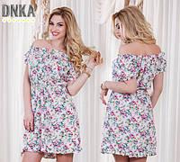 Короткое платье в цветы штапель