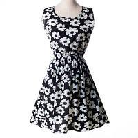 Платье женское с белыми цветами летнее черное