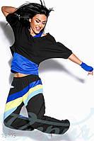 Женский спортивный костюм со свободным топом и облегающей майкой с перчатками в комплекте двунить дайвинг