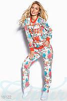 Яркий женский повседневный костюм с цветочным принтом рукав длинный трикотаж
