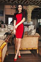 Короткое облегающее платье с набивным гипюром  (2 цвета) 187