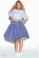 Универсальная джинсовая пышная юбка миди с цветочным принтом