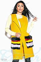 Кашемировый удлиненный женский жилет с натуральным мехом на карманах