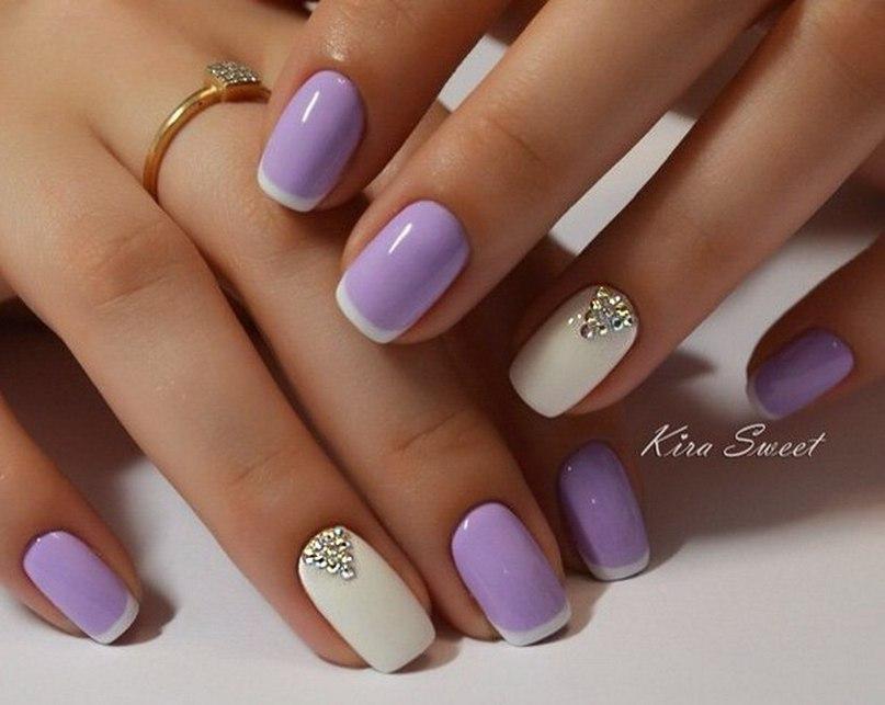 Светло сиреневый гель лак на ногтях дизайн