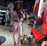 """Женская бледно-розовая курточка из эко-кожи """"Шанель"""""""