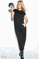Однотонное черное женское платье макси свободного кроя с карманами рукав короткий вискоза