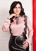 Нежная шелковая блузка с кружевом Большие размеры