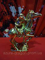 Лошадь золотая с обезьяной. Статуэтка.