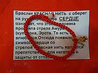 Красная нить от сглаза на запястье с сердцем и ключом