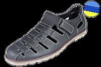 Модные летние мужские туфли МИДА 13959 черные.