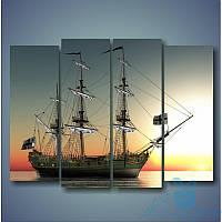 Модульная картина Корабль на закате из 4 фрагментов