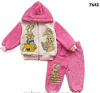 """Махровый костюм """"Кролики"""" для девочки. 1, 3 года"""