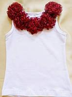 Нарядная майка для девочки с шифоновыми цветами