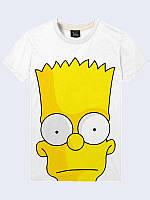 Футболка с рисунком для мужчин Барт на белом