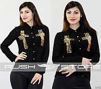 Шифоновая блуза с крестами