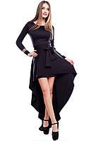 Платье со Съемной Юбкой-Шлейфом Черное S-M