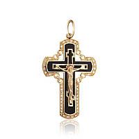 Крупный золотой нательный крестик с распятием и эмалью 27041