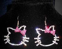 Сережки для девочки Kitty Хэлло Китти со стразами