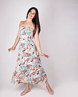 Модный сарафан на бретельках с цветочным принтом, котон