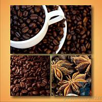 Модульная картина Кофе и зерна из 3 фрагментов