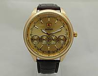 Мужские  часы  FERRARI -  с золотым циферблатом, четыре дополнительных циферблатом