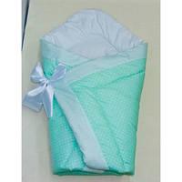 Конверт-одеяло на выписку на липучке с красивым бантом (зима, весна, осень), 90х90