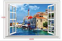 Наклейка виниловая Пейзаж Город у моря 3D декор