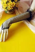 Перчатки черные длинные из кружева